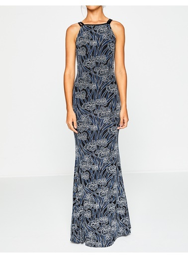 Askılı Uzun Dar Elbise-Koton